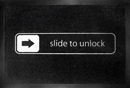 Slide To Unlock - Door  Floor Mat Size 24 x 16 Doormat