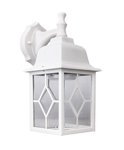 LIT-PaTH Outdoor LED Wall Lantern Wall Sconce as Porch Light 11W 100W Equivalent 1000 Lumen Aluminum Housing Plus Glass Matte White Finish Outdoor Rated ETL and ES Qualified