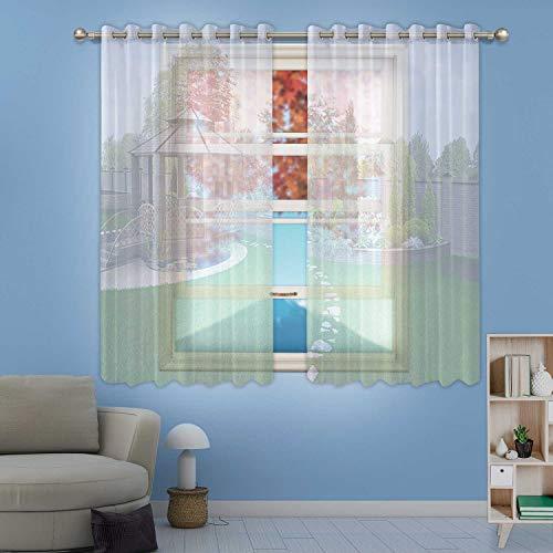 MOOCOM Alfresco Living Area Sheer Window Curtain3D Render for HomeW84in x H45in