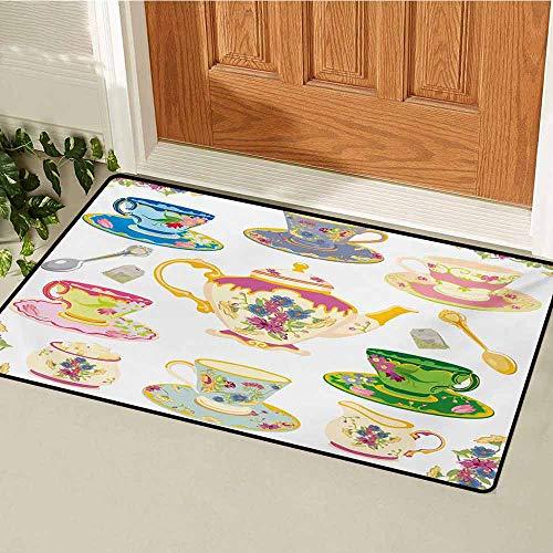 GUUVOR Tea Party Universal Door mat Selection of Vivid Colored Teacups Pot Sugar and Floral Arrangements in Corners Door mat Floor Decoration W315 x L472 Inch Multicolor