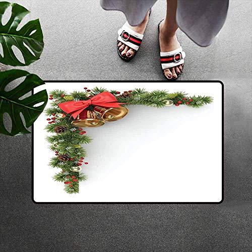 MARRGEF Christmas Welcome Door Mat Coniferous Tree Ornament with Customary Bells and Baubles Hanging Xmas Corner Door Mat is Odorless and Durable Multicolor