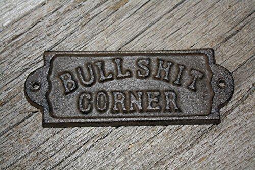 New 3 Cast Iron by YourLuckyDecor BULLSHIT CORNER Door Plaque Garden Sign Ranch Wall Decor Man Cave