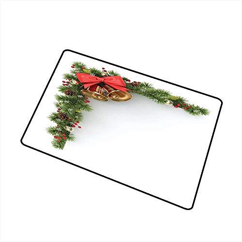 RelaxBear Christmas Universal Door mat Coniferous Tree Ornament with Customary Bells and Baubles Hanging Xmas Corner Door mat Floor Decoration W315 x L472 Inch Multicolor