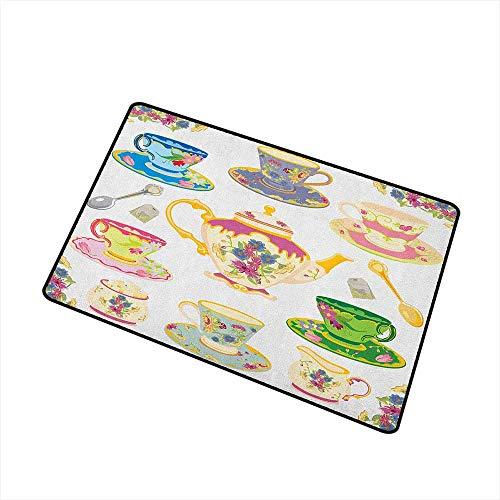Wang Hai Chuan Tea Party Universal Door mat Selection of Vivid Colored Teacups Pot Sugar and Floral Arrangements in Corners Door mat Floor Decoration W157 x L236 Inch Multicolor