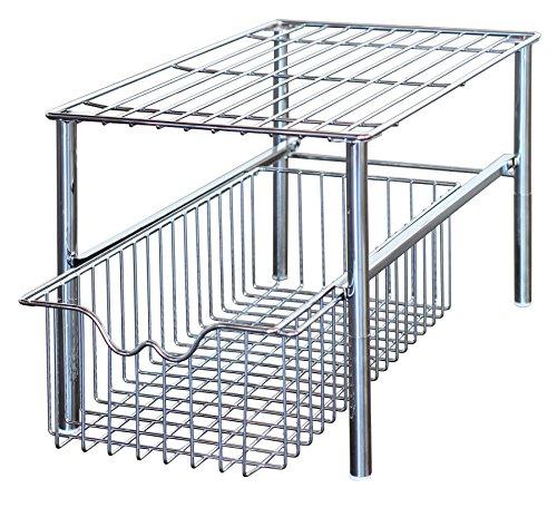 DecoBros Stackable Under Sink Cabinet Sliding Basket Organizer DrawerChrome