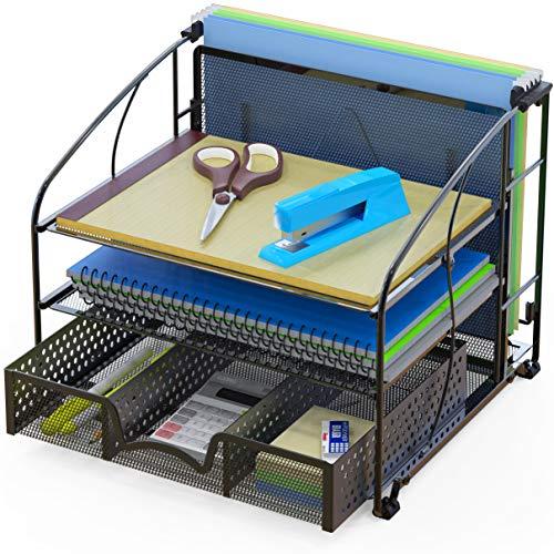 SimpleHouseware Desk Organizer 3 Tray wSliding Drawer and Hanging File Holder Black