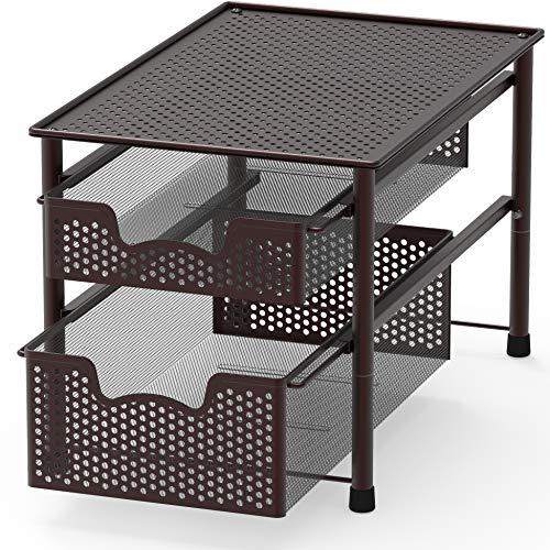 SimpleHouseware Stackable 2 Tier Sliding Basket Organizer Drawer Bronze