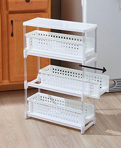 Slim 3-Tier Sliding Drawer Storage for Kitchens Bathrooms