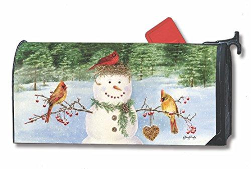 Snowman Birdfeeder Winter Large Mailbox Cover Oversized MailWraps