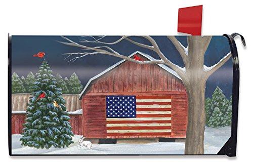 Briarwood Lane Barnside Winter Large Magnetic Mailbox Cover Patriotic Seasonal Oversized