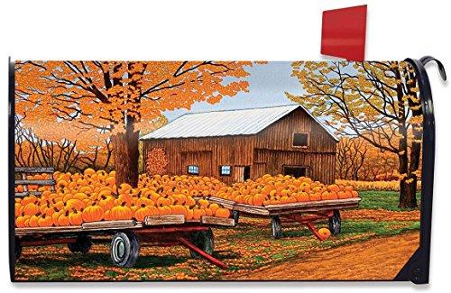 Pumpkinville Fall Magnetic Mailbox Cover Autumn Wagon Barn Standard