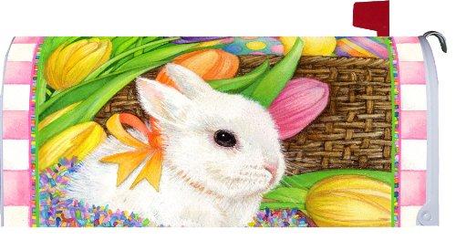 &quot Bunnyamp Basketquot - Tulipsamp Eggs - Easter - Spring - Mailbox Makeover Vinyl Magnetic Cover