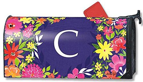 Pretty Petals Monogram C Magnetic Mailbox Cover Spring Floral Colorful Letter C