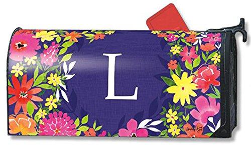 Pretty Petals Monogram L Magnetic Mailbox Cover Spring Floral Colorful Letter L