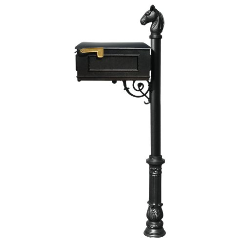 Qualarc Lewiston Cast Aluminum Post Mount Mailbox System With Post Aluminum Mailbox Ornate Base And Horsehead