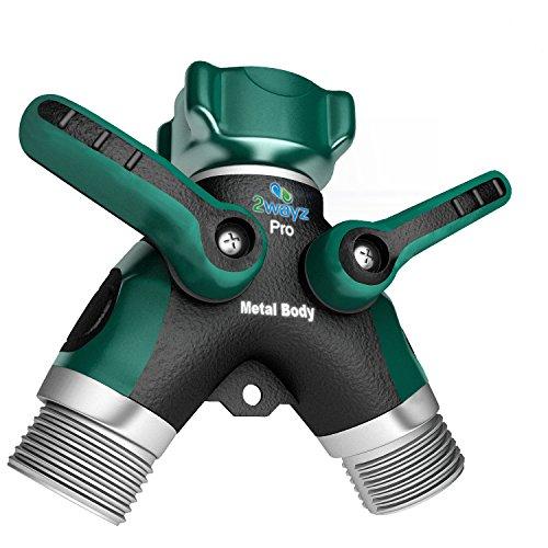 2wayz Garden Hose Splitter - Full Metal Body Y Ball Valve Hose Connector Fits With Outdoor Faucet Sprinkleramp