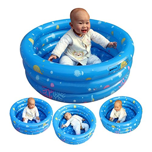 Auwer Inflatable Kiddie Swimming Pool Ball Pool Giant Family Swim Rectangular Pool Kids Water Play Fun in Summe L Blue