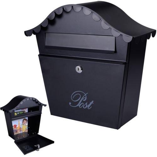 Wall Mount Black Mail Box w Retrieval Door 2 Keys Steel MailBox New