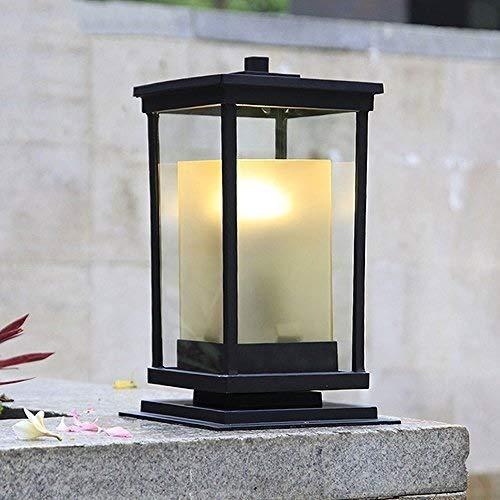XAJGW Pillar Lamp Double Glazed Lantern for Outdoor Patio Post Top Lantern Light Decoration Column Lamp Deck Villa Swimming Pool Fence