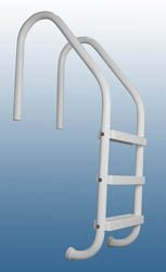Rust Proof P-324-L4 Residential Inground White Four-Step Swimming Pool Ladder 62 Tall x 24 Wide Includes Matching Escutcheons Shipping