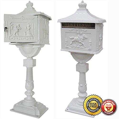New Heavy Duty Mailbox Postal Box Security Cast Aluminum Vertical Pedestal-White
