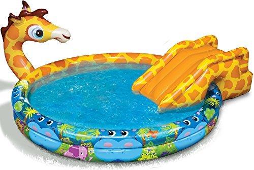 Spring Summer Toys Banzai Spray N Splash Giraffe Pool-a Pool Slide and Sprinkler in One