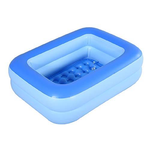 HIWENA Inflatable Kiddie Pool 45 Blue Kids Swimming Pool Summer Water Fun Bathtub with Inflatable Soft Floor