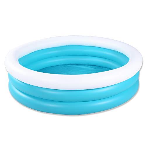 HIWENA Inflatable Kiddie Pool 5ft Durable Kids Pool Blue White Baby Pool