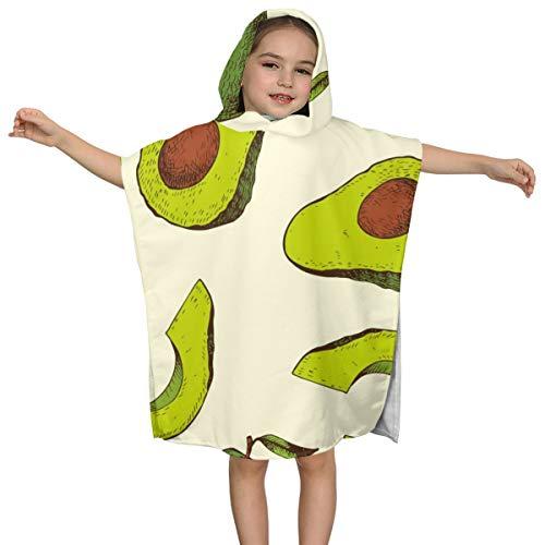 Zul Kids Towel with Hooded Girls Boys Pool Swim Coverup Children Bath Beach Cartoon Avocado Pattern