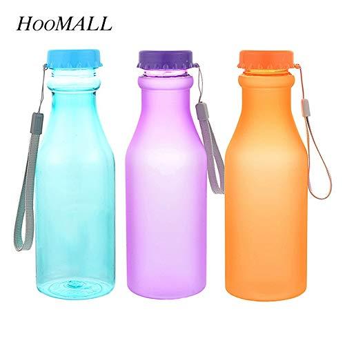Fiesta Hoomall 550ml Portable Plastic Sports Water Bottles Kitchen Kids Unbreakable Leak-Proof Yoga Gym Fitness Drinkware for Outdoor 550ml Transparent Purple