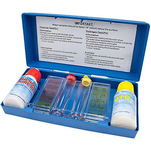 SplashTech 2-Way Pool Water Testing Kit Chlorine Ph With Carry Case