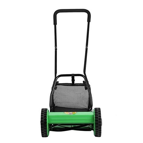 KM Mart 5 Blades Hand Push Lawn Mower Courtyard Home Reel Mower Manual Craftsman Walk Behind Lawn Mower Grass Catcher