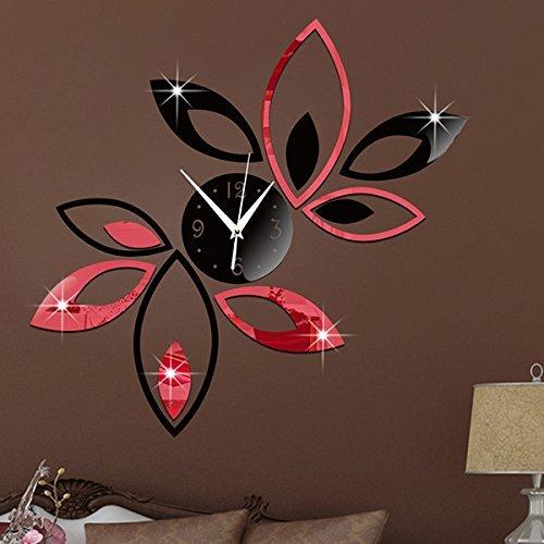 Big Flower Lotus DIY 3D Art Acrylic Mirror Wall Clock DIY Wall Sticker - Black Red
