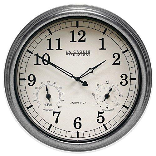 La Crosse Technology IndoorOutdoor Atomic Wall Clock in Silver