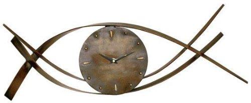 Waves Metal Wall Clock 9&quothx28&quotw Weathered Brnze