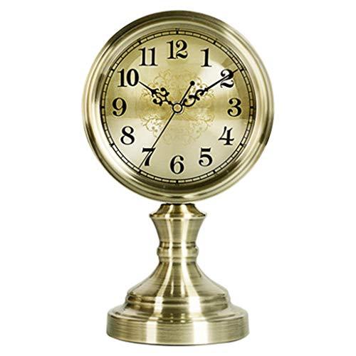 DQMSB European Minimalist Metal Sitting Clock Silent Table Clock Living Room Bronze Creative Trophy Clock