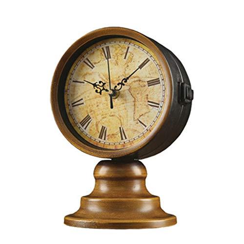 DQMSB European Retro Living Room Clock World map Double-Sided Clock Desktop Decoration Table Clock