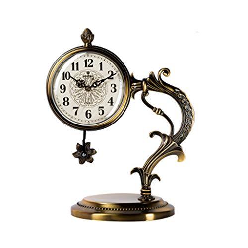 DQMSB European Retro Sitting Clock Creative Metal Table Clock Bedroom Silent Pendulum Clock Living Room Table Clock Decoration Color  K