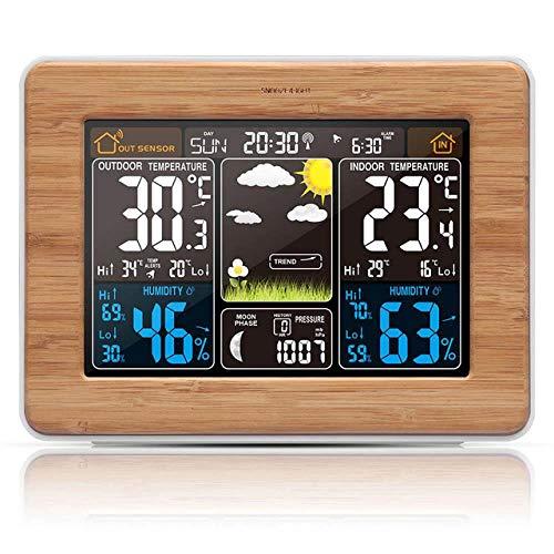 MZNEO Alarm Clock Digital Watch Temperature Humidity Sensor Barometer Forecast Weather Station Electronic Desk Table Clocks Wood