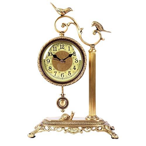 QIANDING zuozhong Brass Clock Clock Swing Bedroom Bedside Table Art Mute Table Clock Arabic Digital Table Decoration Table