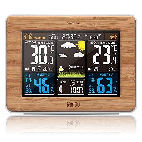 YITEJIA Multifunctional Home Decoration Alarm Clock Digital Watch Temperature Humidity Sensor Barometer Forecast Weather Station Electronic Desk Table Clocks Color  Wood