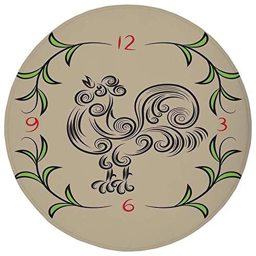 Round Rug Mat CarpetKitchen DecorRooster and Floral Art Decorative Clock Time Swirls Leaves Farm Animal Theme DecorationGrey GreenFlannel Microfiber Non-slip Soft Absorbentfor Kitchen Floor Bathr