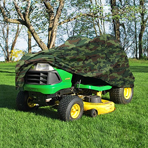 NEH Deluxe Riding Lawn Mower Tractor Cover Fits Decks up to 54 - Camouflage - Water Mildew and UV Resistant Storage Cover