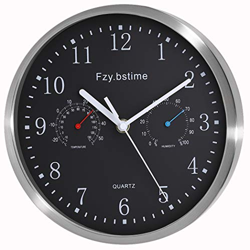 Fzybstim Non Ticking Silent Wall Clock Battery OperatedStainless Steel Wall Clock with Thermometer and Hygrometer OfficeLiving RoomBathroomKitchen Clock10 inch