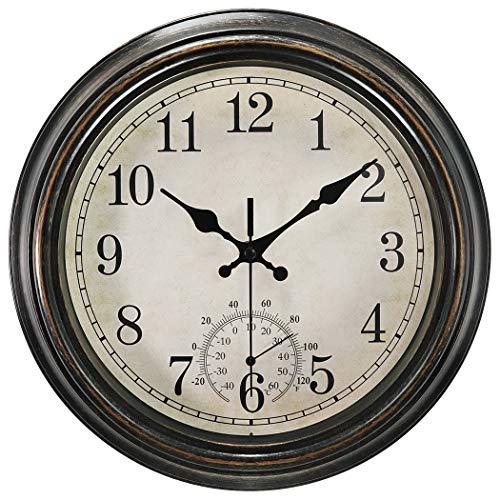 SecreShow 12 Inch Indoor Outdoor Wall Clock with ThermometerBattery Operated Waterproof ClockBronze
