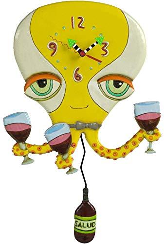Allen Designs `Happy Hour` Octopus Pendulum Wall Clock
