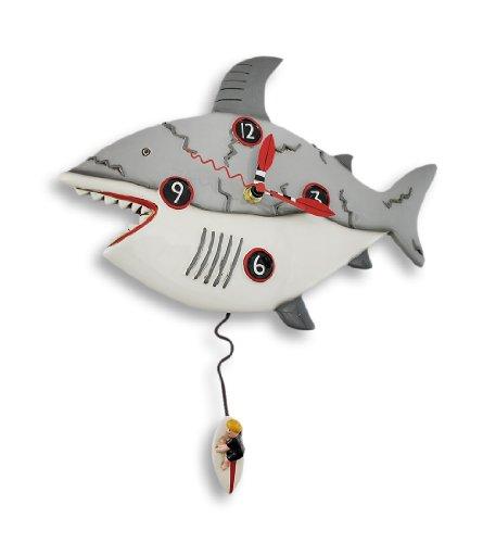 Allen Designs `Surf at Risk` Shark Wall Clock with Surfer Pendulum