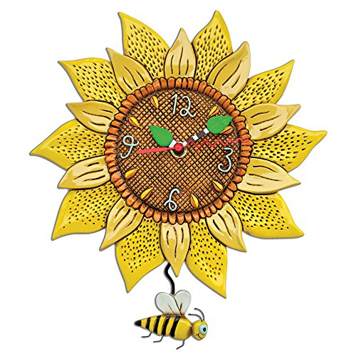 Allen Designs Bee Sunny Sunflower Wall Clock with Bee Pendulum