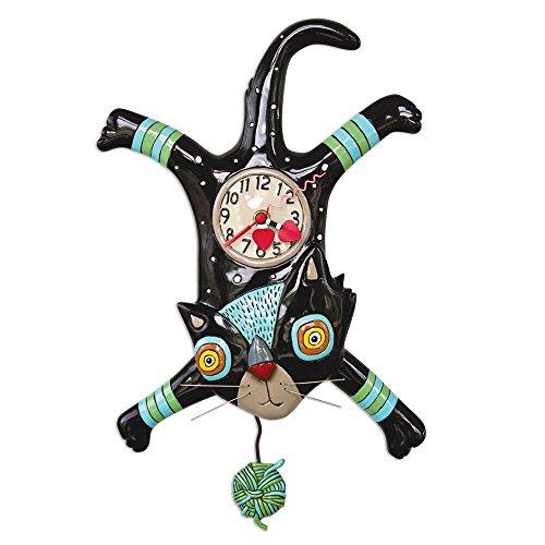Allen Designs Craft Attack Whimsical Cat Pendulum Wall Clock