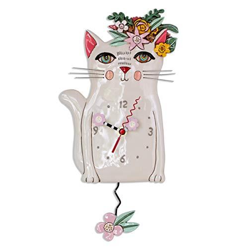 Allen Designs P1993 Swinging Pendulum Clock Pretty Kitty Cat Design 725 inches X 1425 inches